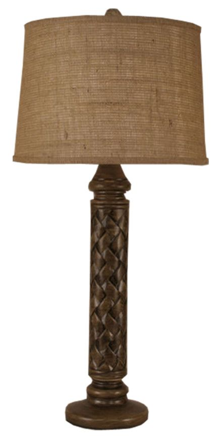 Basket Weave Pot Table Lamp