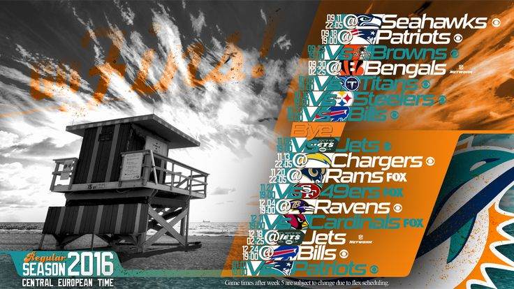 Schedule wallpaper for the Miami Dolphins Regular Season, 2016. All times CET. Made by #tgersdiy