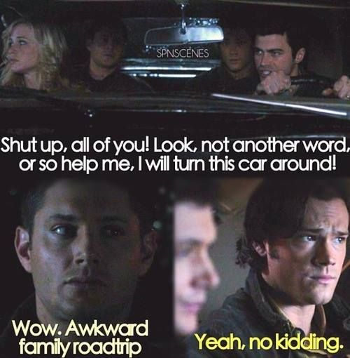 Awkward family road trip when Sam and Dean travel back in time to the seventies and ride in the backseat with their young parents. 5x13 The Song Remains The Same