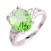 Forme a mujeres la joyería Junoesque verde anillo de plata 925 amatista elegante tamaño 5 6 7 8 9 10 11 12 New venta al por mayor