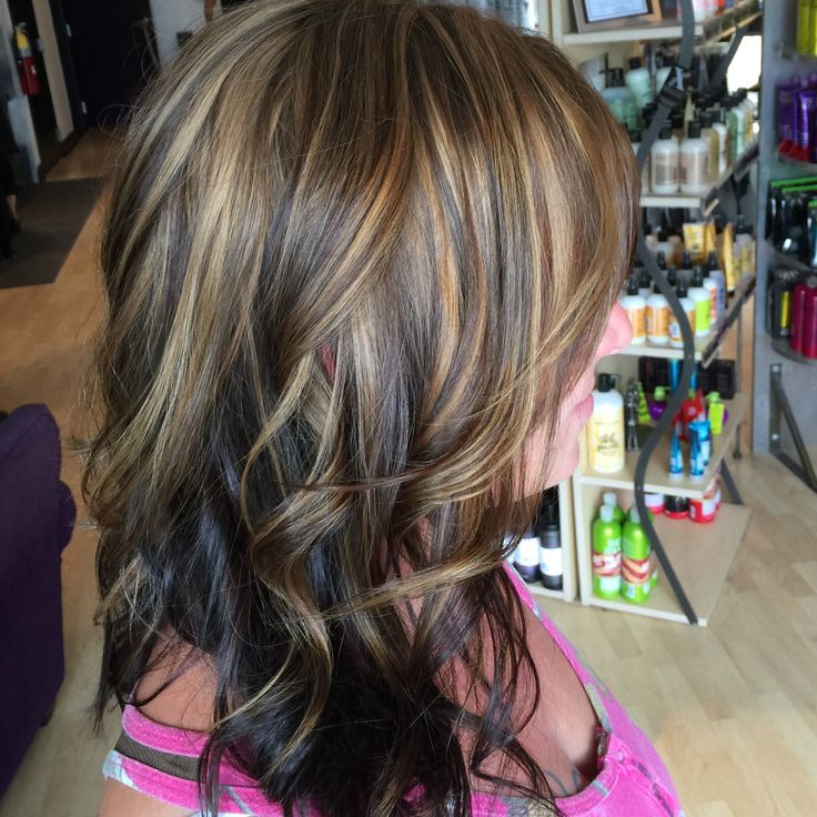 Honey ginger highlight with dark chocolate brown/Xquisite Salon&Spa