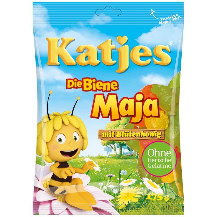 Soyez végétarien - avec les Katjes Maya l'abeille pour les petits et les grands fans du célèbre dessin animé. Ces délicieux bonbons gélifiés aux fruits sont en 4 saveurs et 4 formes différentes: Willi à l'orange, Flip à la pomme et Maya à la banane ou des fleurs à goût de cerise.