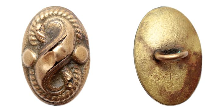 Very nice, small, decorative Victorian button. Material: gilded copper alloy. Dimensions: 14 x 10 mm. Found: Lancashire 2015.  #metaldetecting, # 0213