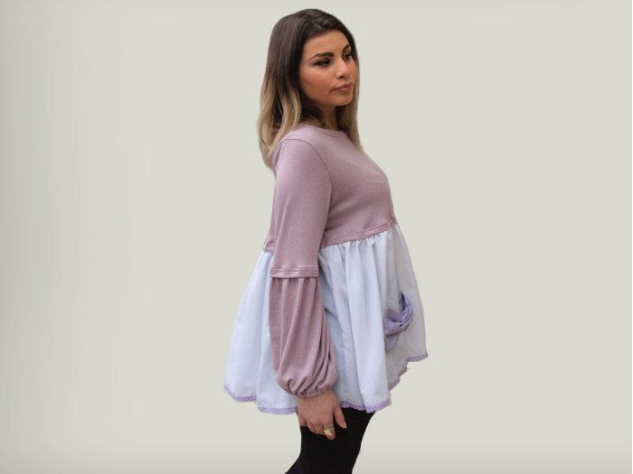 Pink  and white loose women top/ pink loose blouse / gift for her/ long sleeves pink top /white cotton loose top/ light purple bow top by PepperFashion on Etsy
