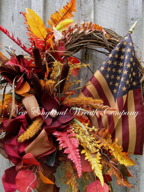 ON SALE Patriotic Wreath Americana Wreath Elegant Fall