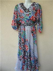 Vintage 80s GYPSY DRESS Boho Sheer RUFFLES Floral Assorti for Susan Freis - Diane's Sister sz M