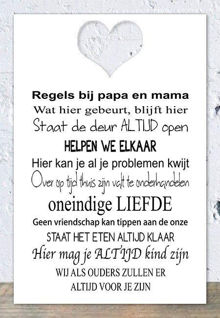 Spreukbord Papa & Mama regels Deluxe (wit)