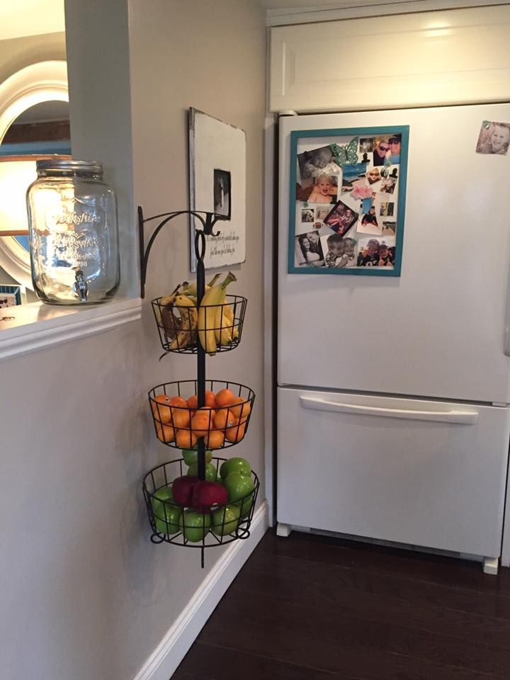 Great fruit storage! The 3 tiered basket is from Hobby Lobby, and the hook is from Home Depot. http://www.hobbylobby.com/Home-Decor-Frames/Decorative-Storage/Baskets/Black-Three-Tier-Basket-Stand/p/80653397
