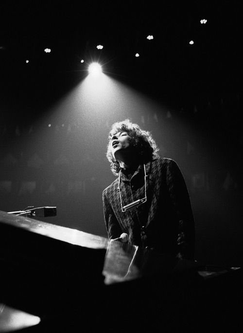 Bob Dylan in concert during his world tour in 1966