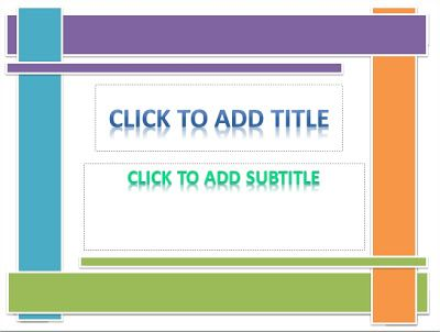 There a unique template with 4 color shape and 2 small shape.   The PowerPoint designs that just inspired by the pile of colorful boxes.Mixing in blue, green, orange and purple. With white background showing how simple template. Word art with format and mirror effect.