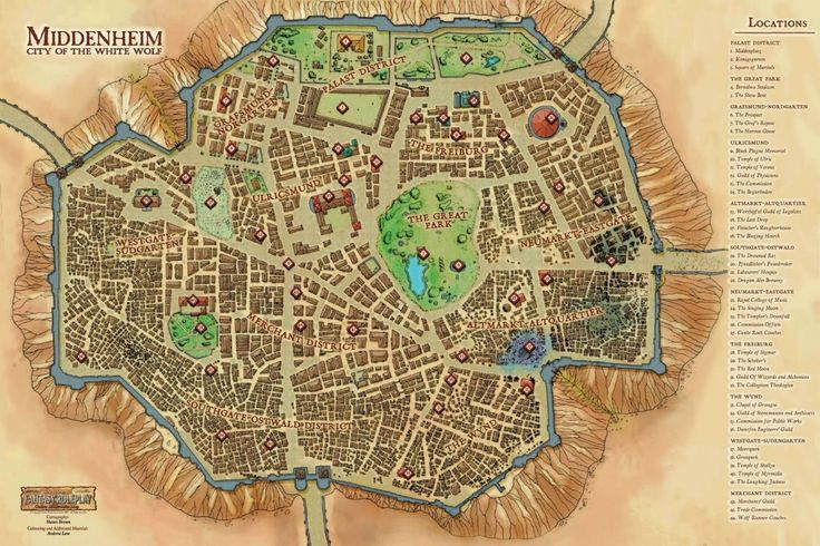 Town of Middenheim City of the White Wolf Map Warhammer Fantasy Roleplay