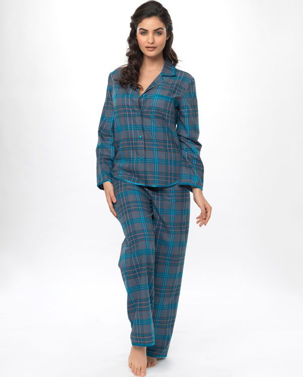 Deep Teal Check Pyjamas