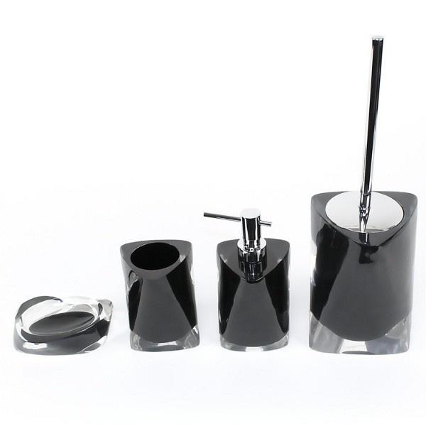 Twist Black Bathroom Accessory Set Twist SIlver Bathroom Accessory Set  Includes: Soap Dish Toothbrush Holder