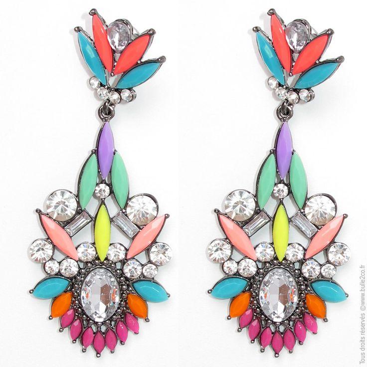 boucles d 39 oreilles pendantes strass colorblock bijoux fantaisie boucles d 39 oreilles bulle2co. Black Bedroom Furniture Sets. Home Design Ideas