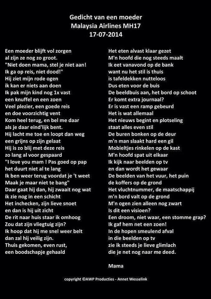 Gedicht moeder MH17
