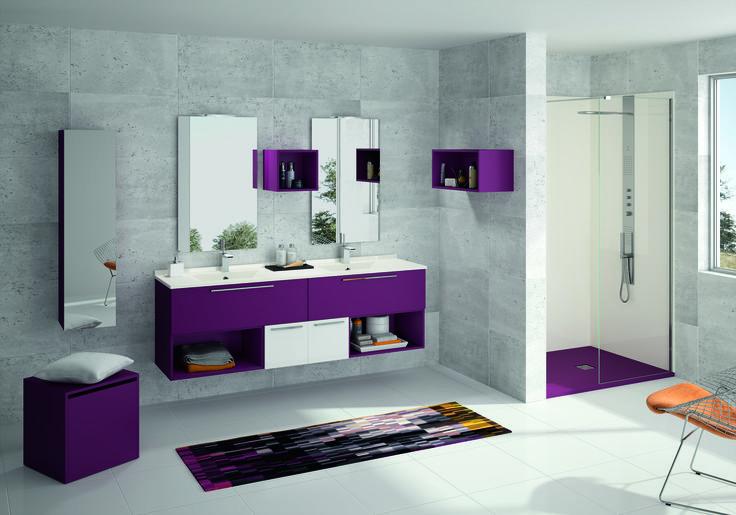 My Akido - Solution composable La teinte RAL du receveur en SMO est assortie au coloris M753 Violette des meubles Akido