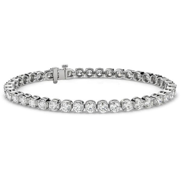 Blue Nile Diamond Tennis Bracelet ($16,000) ❤ liked on Polyvore featuring jewelry, bracelets, tennis bracelet, 14k tennis bracelet, 14k bangle, 14 karat gold jewelry and diamond jewellery
