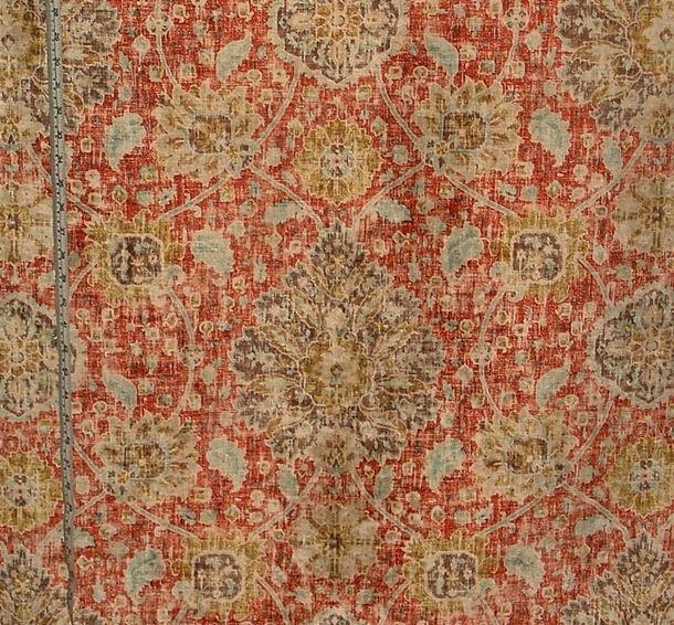 Vintage Persian Rug Fabric Orange Blue Chenille Velvet