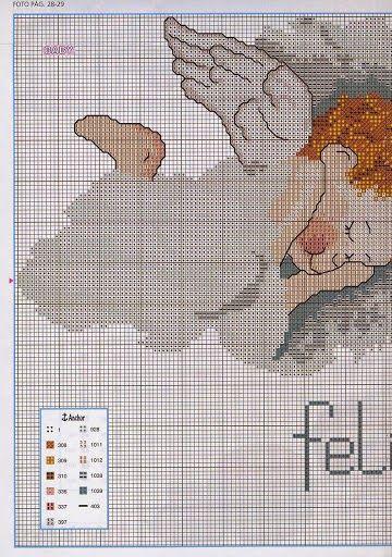 Todo crochet con Pilar: Angelitos en punto cruz