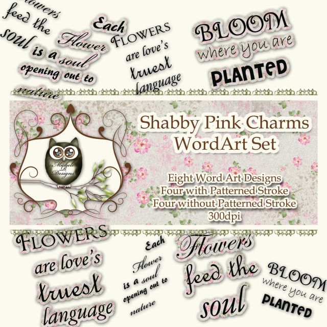 *****NEW***** Shabby Pink Charms Wordart - Decorative Word Art, Digital Collage, Scrapbooking, Cardmaking