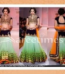 Buy orange and green and turquiose Embroidered net bollywood-lehengas Online