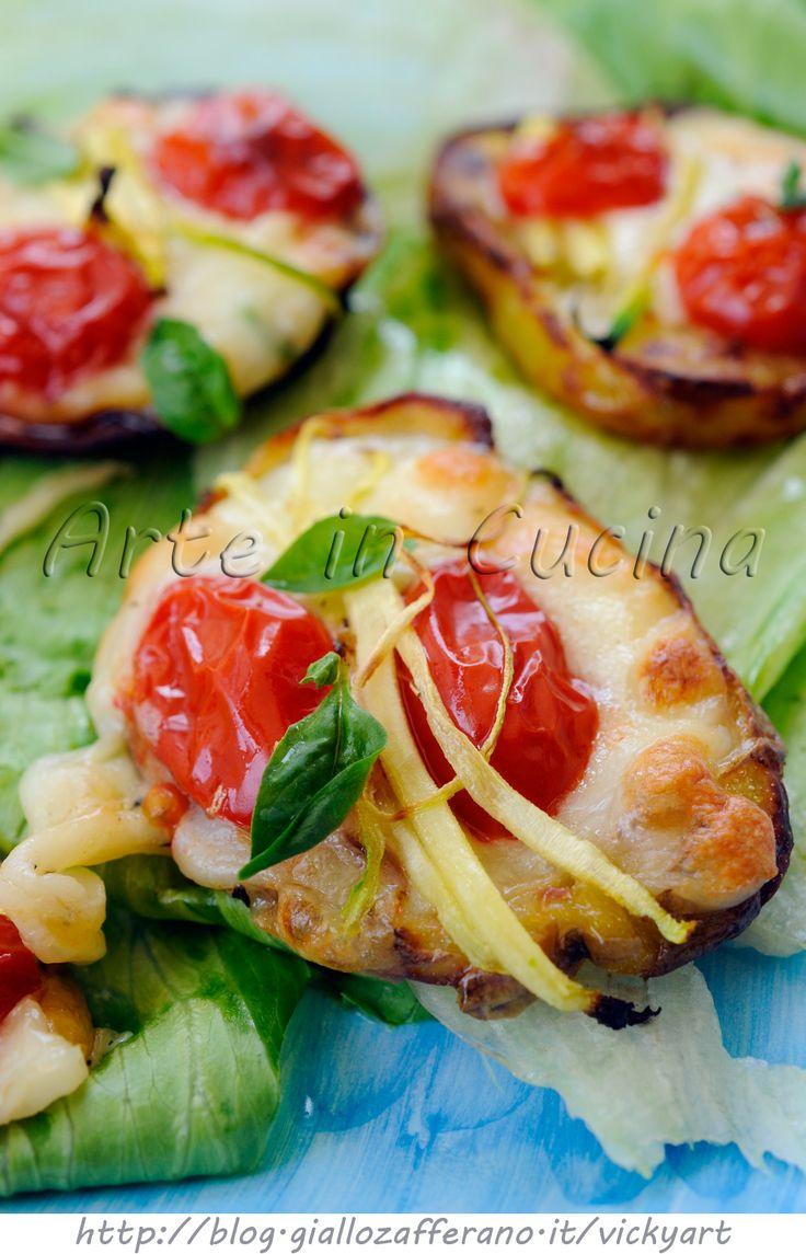 Bruschette di patate grigliate con zucchine e provola vickyart arte in cucina