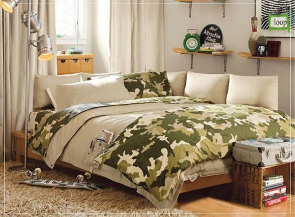 Green bed lamp room young man teen design shelf curtain window pillow clock