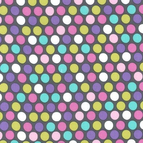 """""""Big Spots Dots Orchid Pink on Gray"""" -  Spotty Fabric Fat Quarter by Michael Miller"""