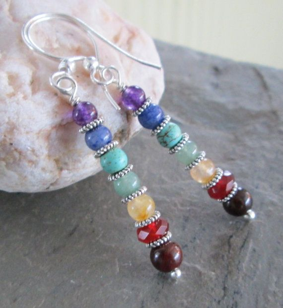 Chakra earrings Gemstones to represent by PumpkinHollowCreatns