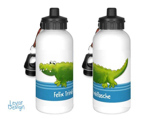 Trinkflaschen - Trinkflasche für Schule- Krokodil personalisert - ein Designerstück von LEVARDESIGN bei DaWanda
