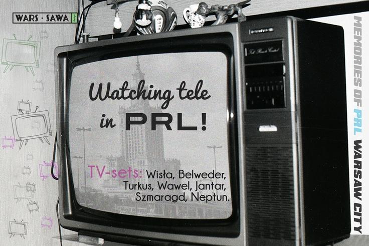 Watching tele in PRL! Postcard by Wars Sawa Design, Warszawa, Warsaw, Memories of PRL.