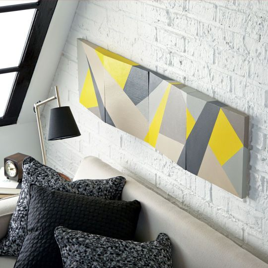 Try this creative new slant on home décor! Paint geometric shapes onto these clever dimensional ...