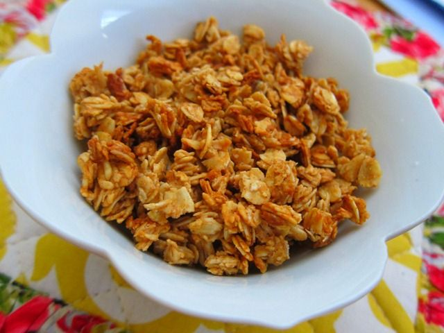 Peanut Butter Granola. for Kaleb who is on a health kick and will only eat peanut butter and 9 grain bread, or Honey n oats cereal in the morning.