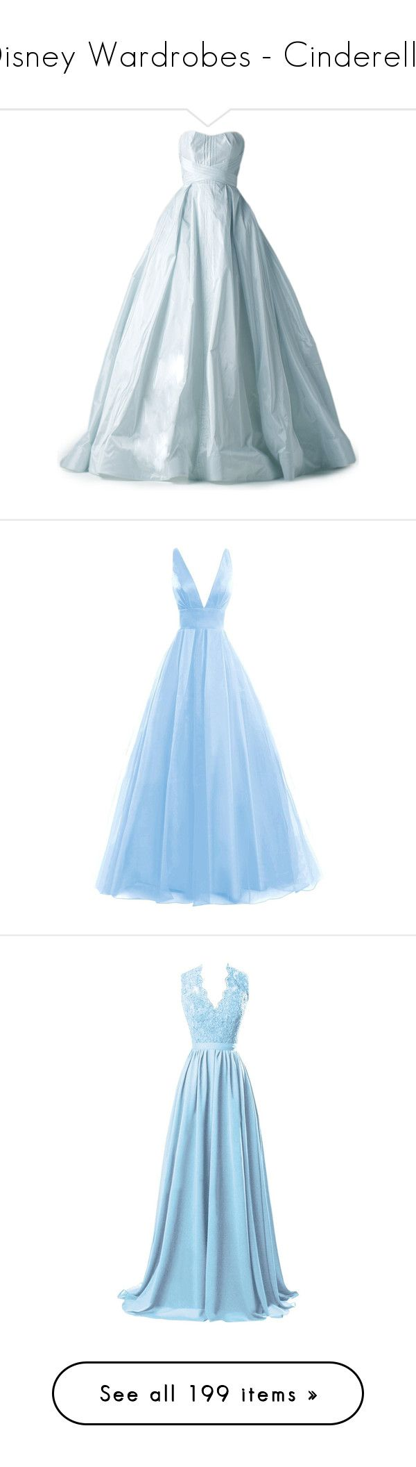 """""""Disney Wardrobes - Cinderella"""" by stinze on Polyvore featuring dresses, gowns, long dresses, satinee, blue color dress, long blue dress, blue dresses, long blue evening dress, blue gown and gown"""