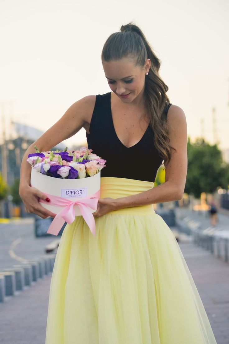 Dress: Alexandra Vajda Flower box: DIFIORI