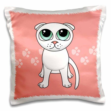 3dRose Cute White Scottish Fold Cat Cartoon - Pink Pawprints, Pillow Case, 16 by 16-inch
