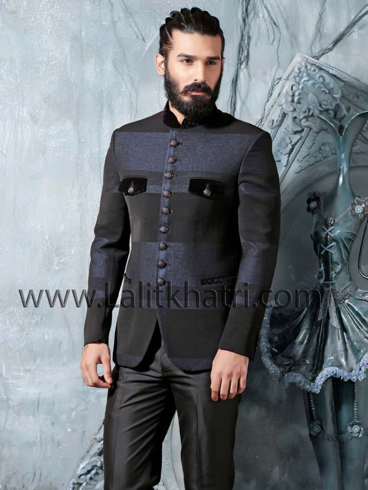Glowing black and blue color imported fabric jodhpuri jacket designed with velvet patch collar and attractive buttons. Item Code: TSJ4239 http://www.lalitkhatri.com/label/men/mens-designer-suits.html