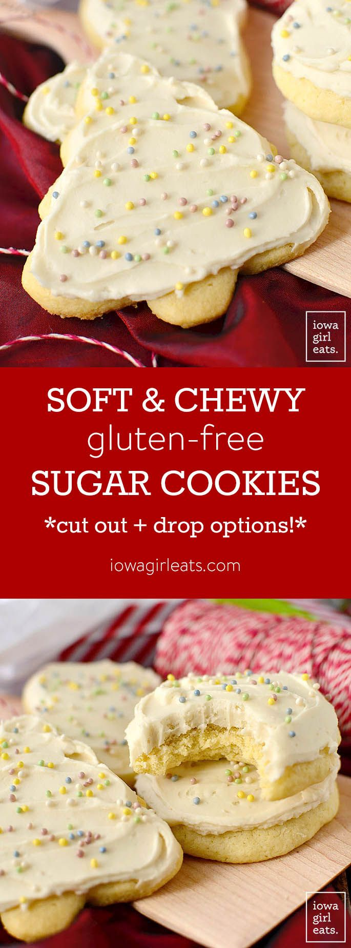 You'd never know soft and chewy gluten-free sugar cookies are made with gluten-free flour! Make into drop cookies or roll and cut into any shape you like.  | iowagirleats.com #glutenfree