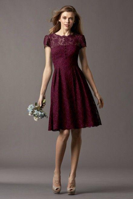 Watters Maids Dress Ash Style 4257   Watters.comwine & dark cranberry
