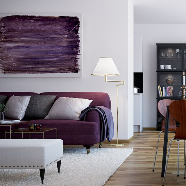 scandinavian style the walls remain a vast white canvas on which theres colorful splashes - Purple Living Room