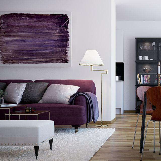 Scandinavian Style City Living Interior Pinterest Room Purple Sofa And Home Decor