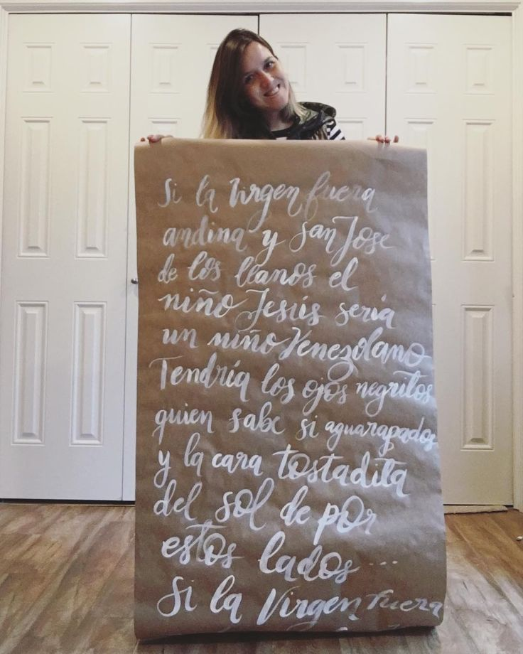This is the final piece of the #GiftWrappingPaper that I created yesterday (videos with the process in the stories). It has the lyrics of El Niño Criollo which is an aguinaldo a Venezuelan Christmas Carol.  In Argentina we dont have many folk songs for the season but Ive always loved Christmas music (mostly American songs influence). But ever since I first listened to El Niño Criollo I liked it a lot because it tells a story of how Jesus would be if Maria was from the Andes and St.  Joseph…