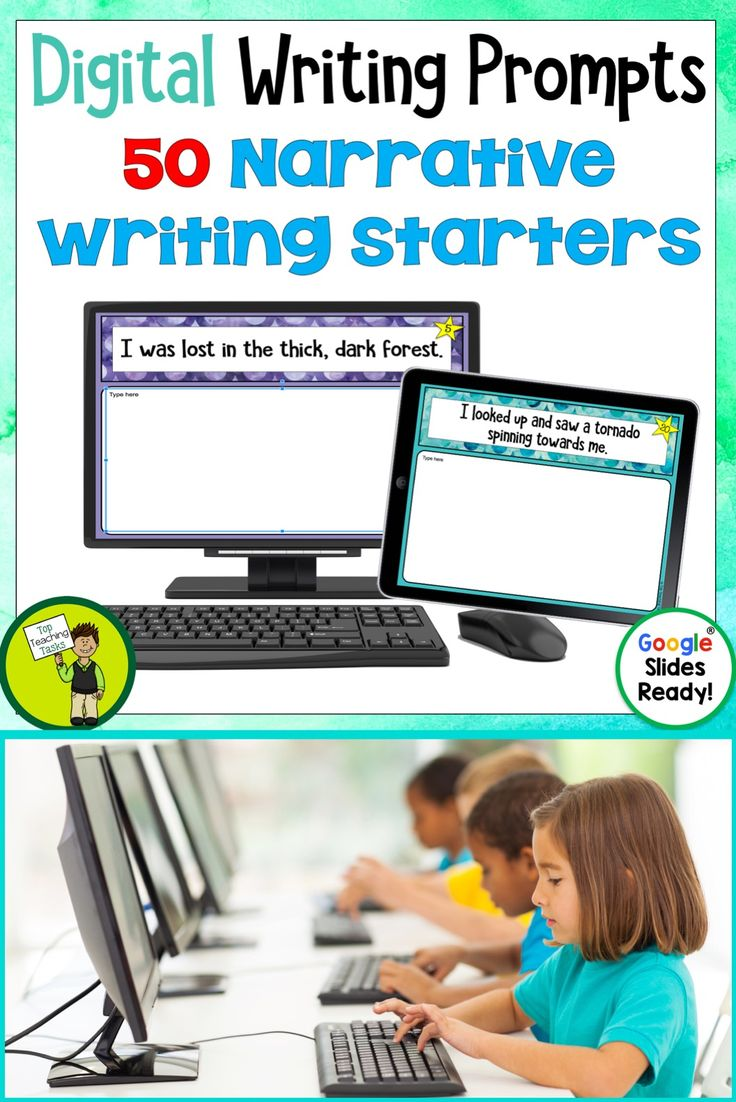 Go paperless with our Google Slides-ready narrative writing prompts! Encourage independence with this easy to use writing activity pack featuring 50 narrative writing prompts. This Google Resource will have your students writing narratives using Google Slides in no time! Narrative Writing Prompts for your digital classroom #narrativewriting  #narrativewritingprompts #digitalnarrativewriting