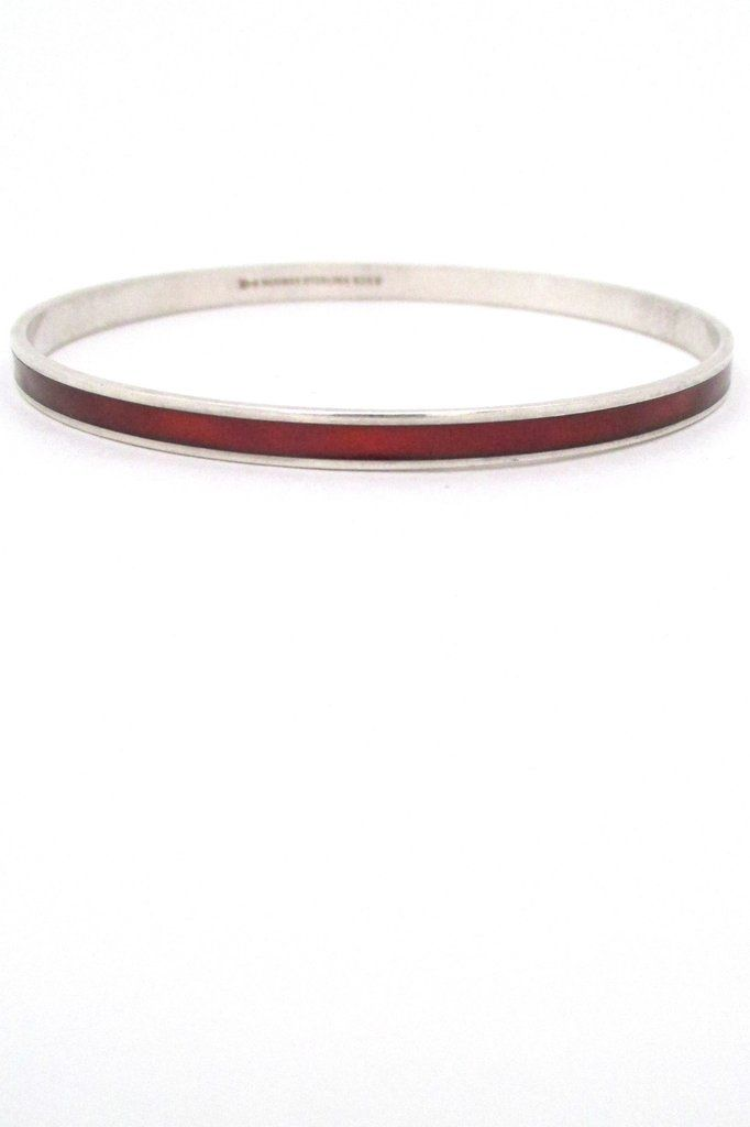 David-Andersen sterling silver & enamel bangle - red
