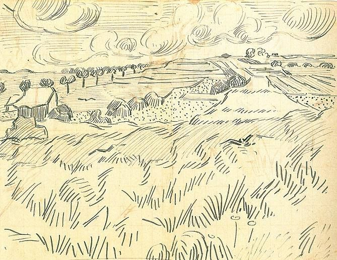 campo de Van Gogh, trigo, 23 de julho de 1890. Caneta e tinta preta sobre papel, 21,7 x 17 cm. Museu de Van Gogh, Amsterdam
