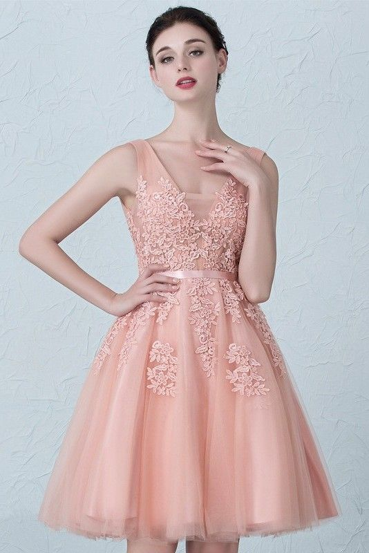Stunning Short A Line V Neck Beaded Blush Pink Lace Tulle Prom Homecoming  Cocktail Dress 2fc2a778c