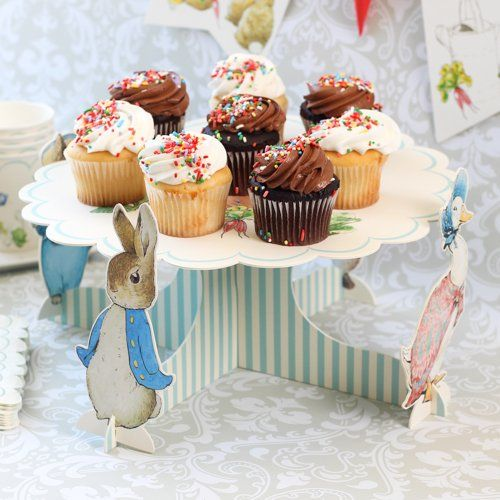 Peter Rabbit Cupcake Centerpiece  Website with party decorations