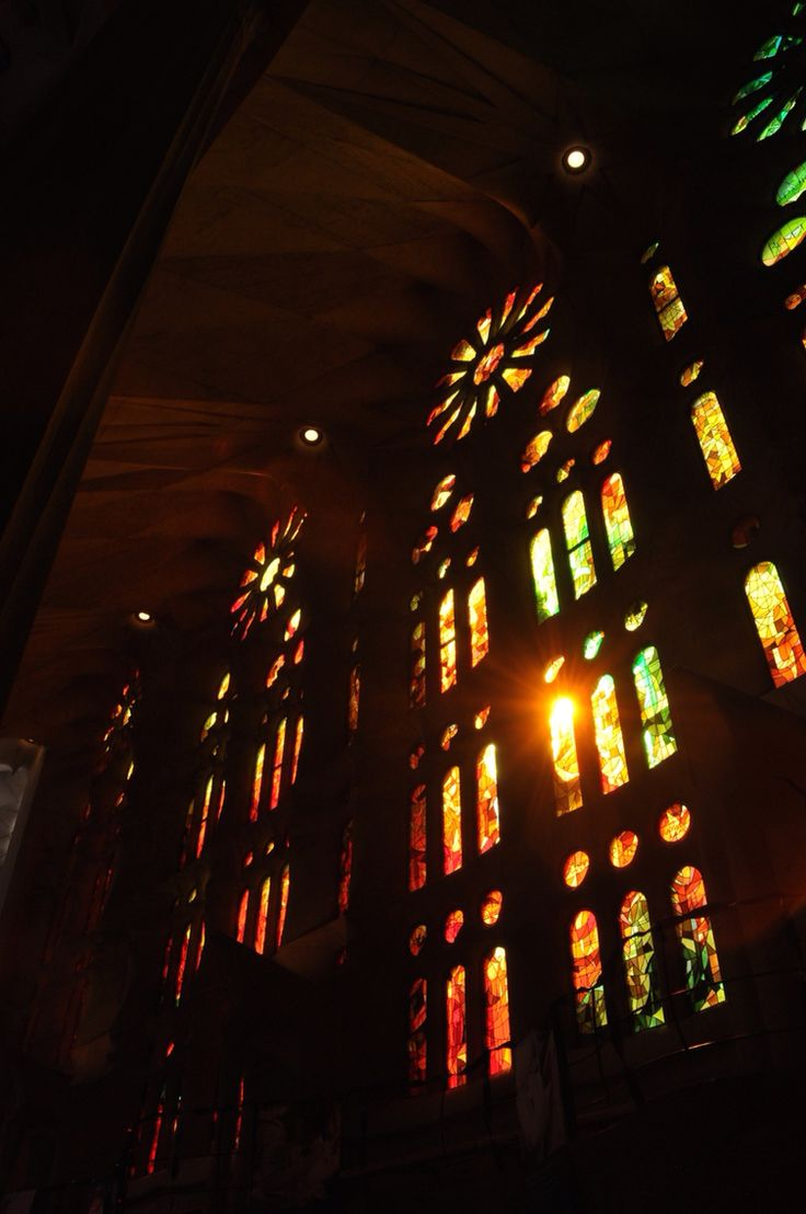 Light through the stained glass inside Sagrada