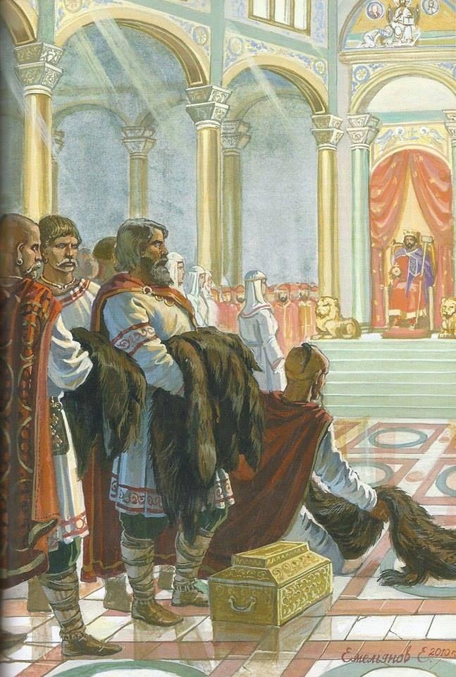 The Roman Emperor Constantine VII Porphyrogenitus gives audience to a delegation of Olga of Kiev, Regent of Kievan Rus, 957 AD. Picture by Evgeny Emelyanov