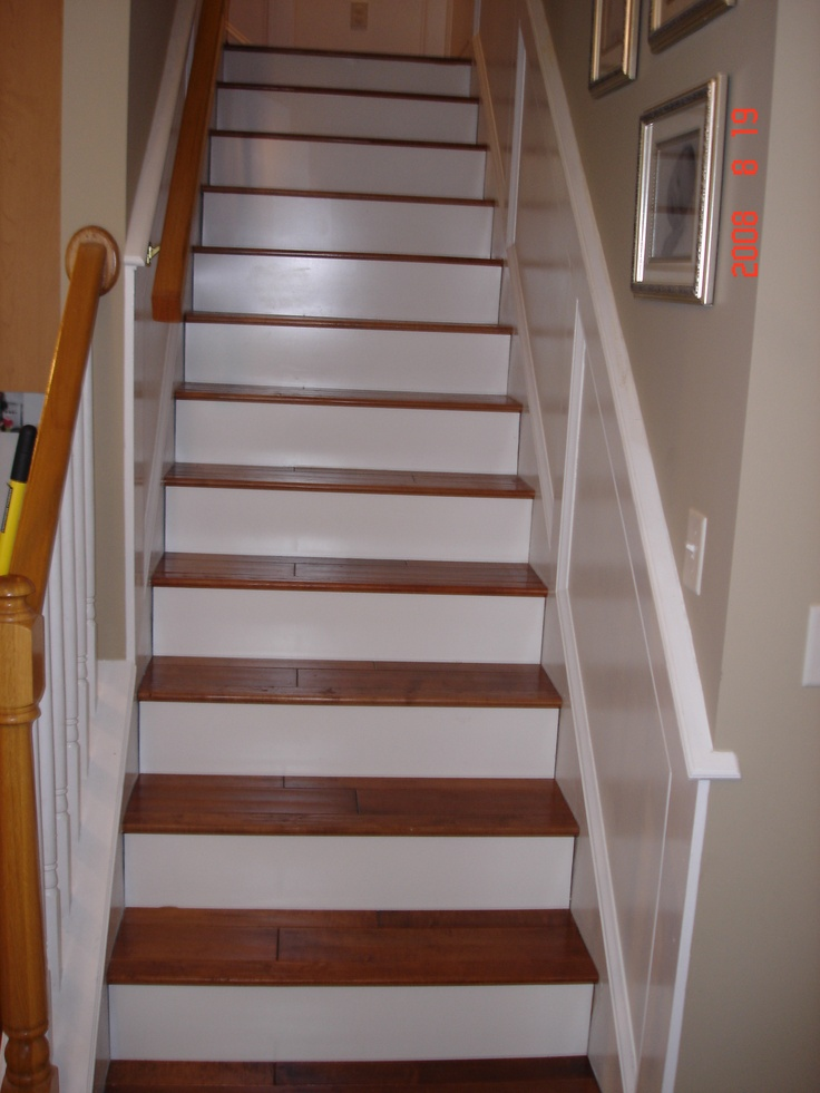 White Risers Make A Dark Wood Pop On Stairs Wood Stairs
